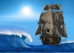 bigstock_The_ancient_ship_in_the_sea_17384813